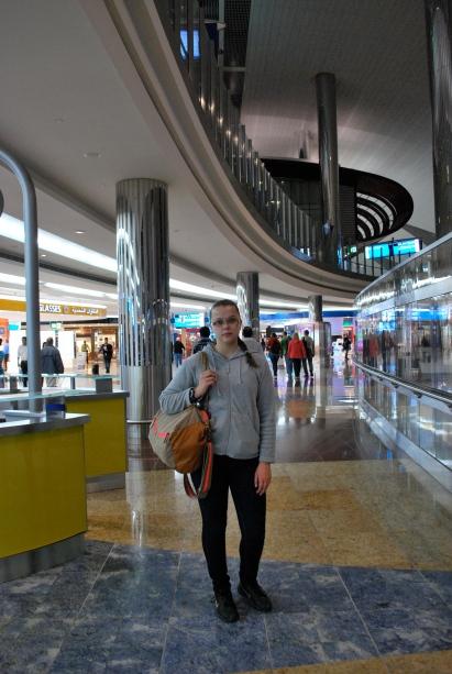 Obviously tired at Dubai airport...