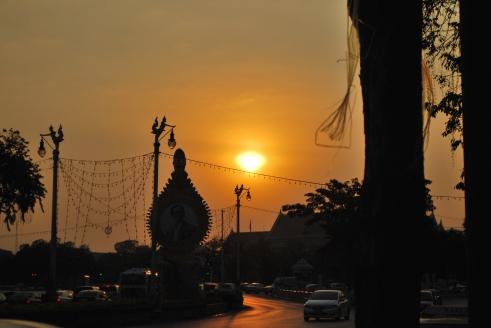Sunset on Ratchdamnoen Avenue