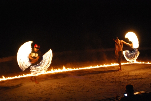 Fire show on Sairee Beach