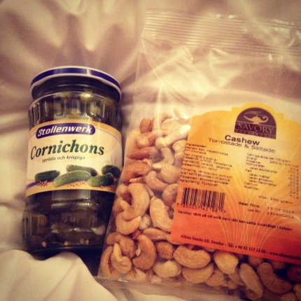 Cashew nuts and gurkins. Low crb: close enough.