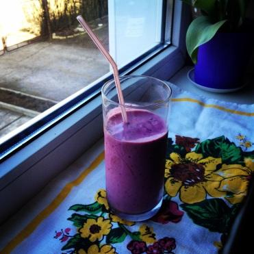Post-run fuel: kefir, protein powder, stevia, raspberries and black currants.