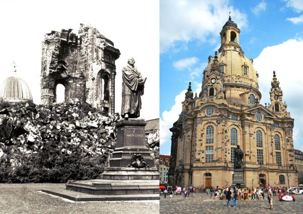 Lammutatud asju saab üles ehitada ja taastada. Aga vahel võtab see meeltult palju aega… Fotod: Dresdeni Frauenkirche, allikas ja erakogu